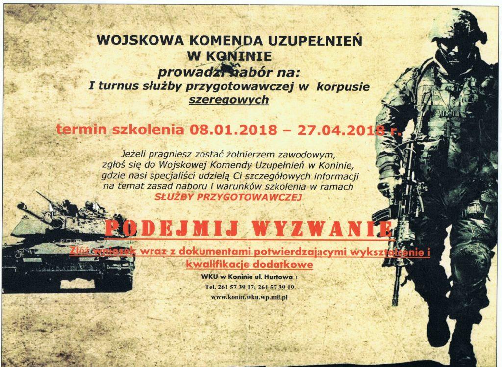 WKU w Koninie prowadzi nabór na I turnus służby przygotowawczej w korpusie szeregowych