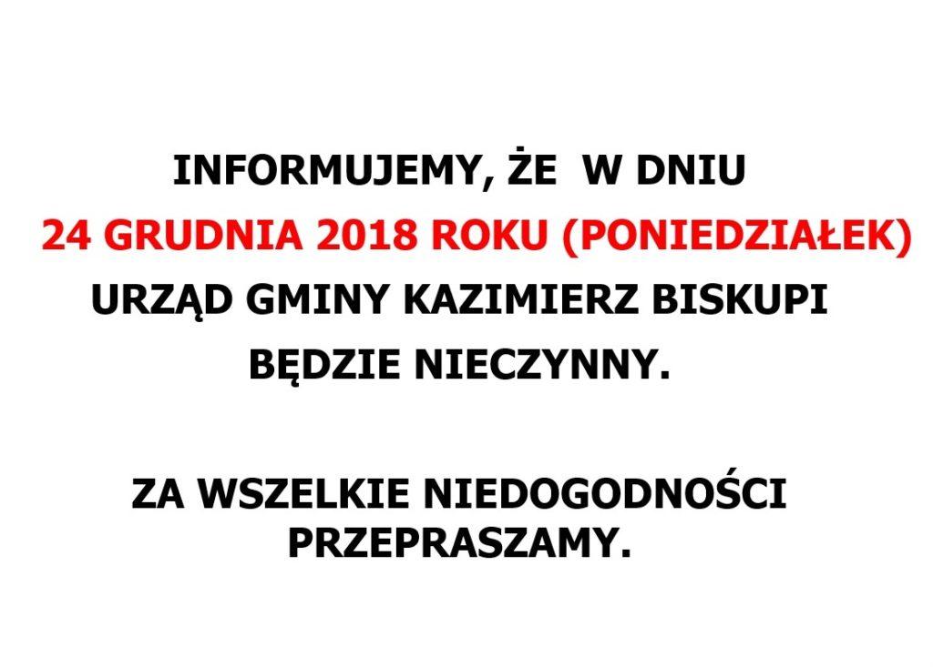 Uwaga! 24 grudnia br. Urząd Gminy będzie NIECZYNNY
