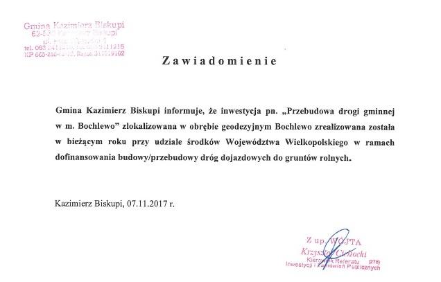 Przebudowa drogi gminnej w m. Bochlewo – zawiadomienie