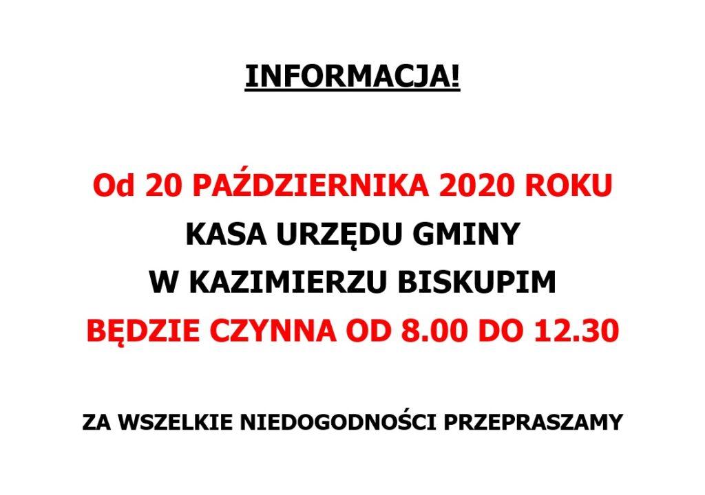 Godziny pracy kasy Urzędu Gminy w Kazimierzu Biskupim