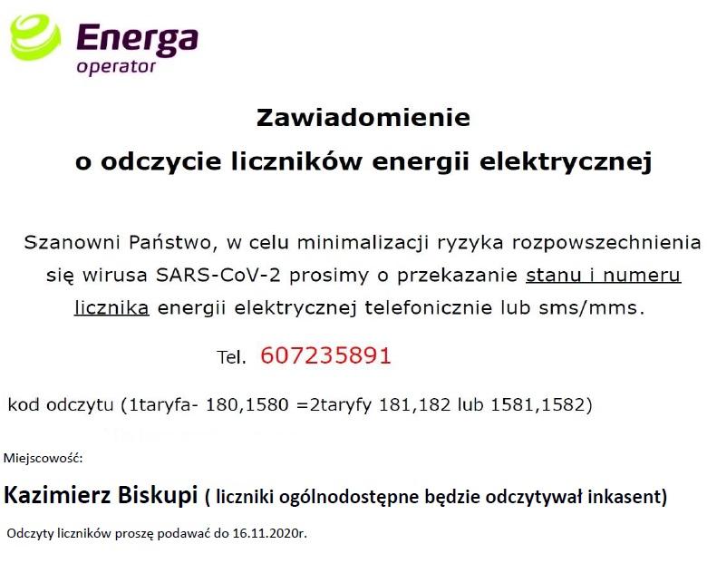 Energa – zawiadomienie o odczycie liczników energii elektrycznej