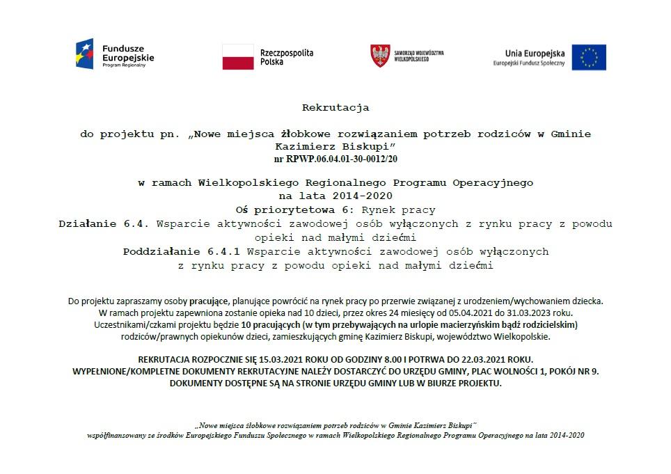 """Rekrutacja do projektu pn. """"Nowe miejsca żłobkowe rozwiązaniem potrzeb rodziców w Gminie Kazimierz Biskupi"""""""